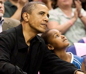 Obama Watch: President and Sasha at WNBA Game