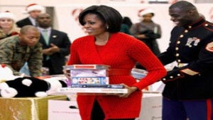 First Lady Diary: Mrs. O Helps Marines Give Out Toys