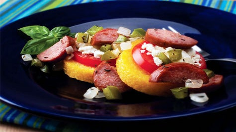 Dine on a Dime: Sausage and Pepper Topped Polenta Slices