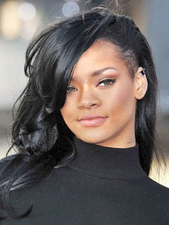 Go There: Rihanna Steps Out in Jet Black, Half-Shaven Hairstyle