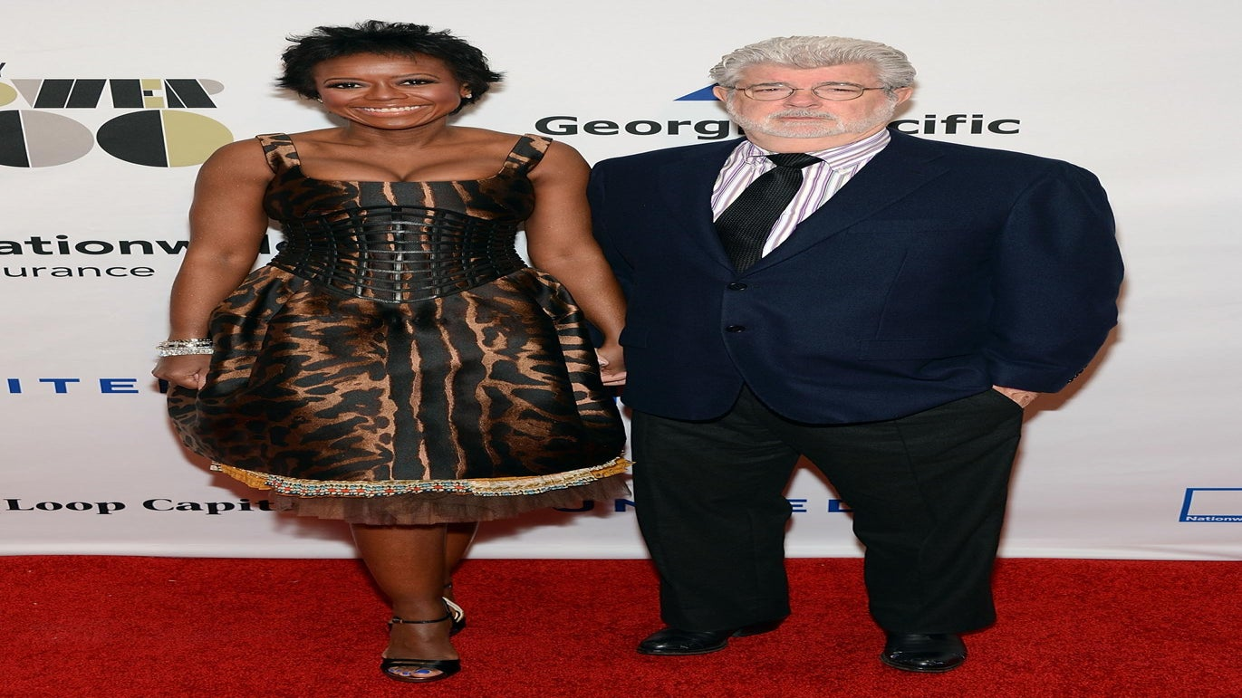 George Lucas and Mellody Hobson Jump the Broom