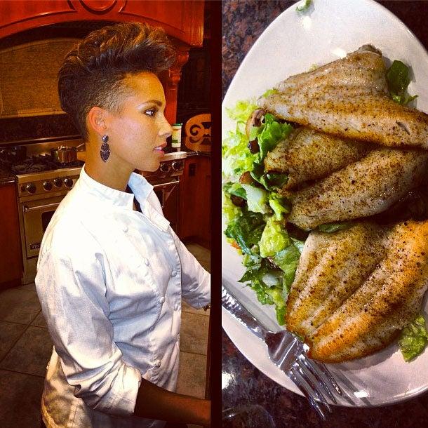 Photo Fab: Alicia Keys Plays Chef for Hubby Swizz Beatz