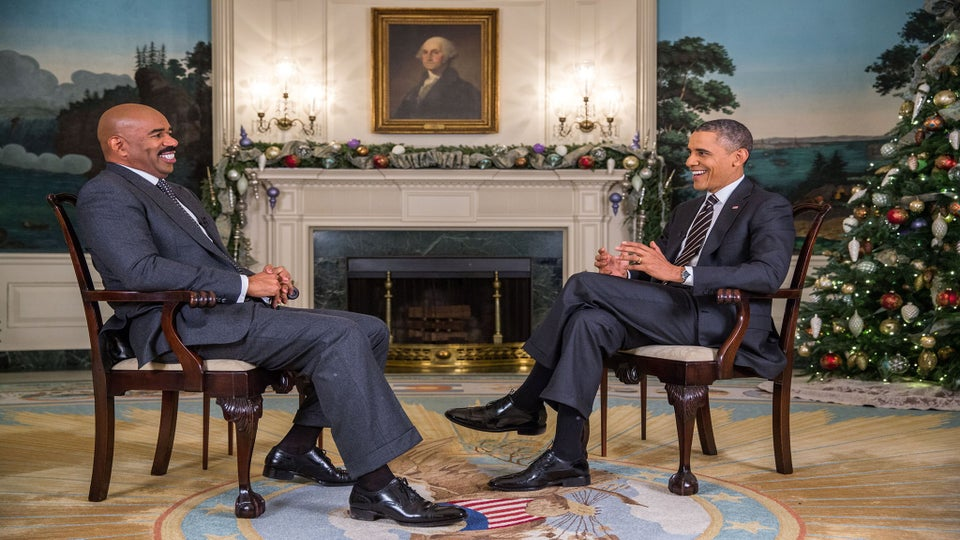 Photo Fab: Steve Harvey Interviews President Obama at the White House