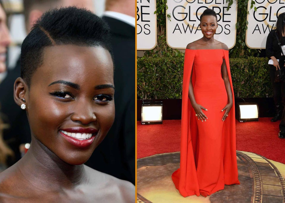 The Look Last Night: How to Get Lupita's Golden Globes Hair