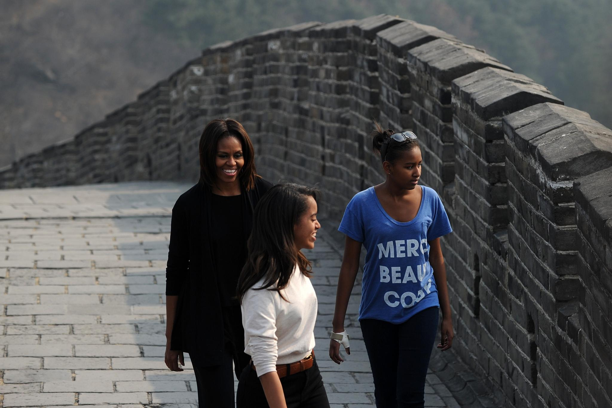 Photo Fab: Michelle, Malia and Sasha Obama Visit the Great Wall of China in Style