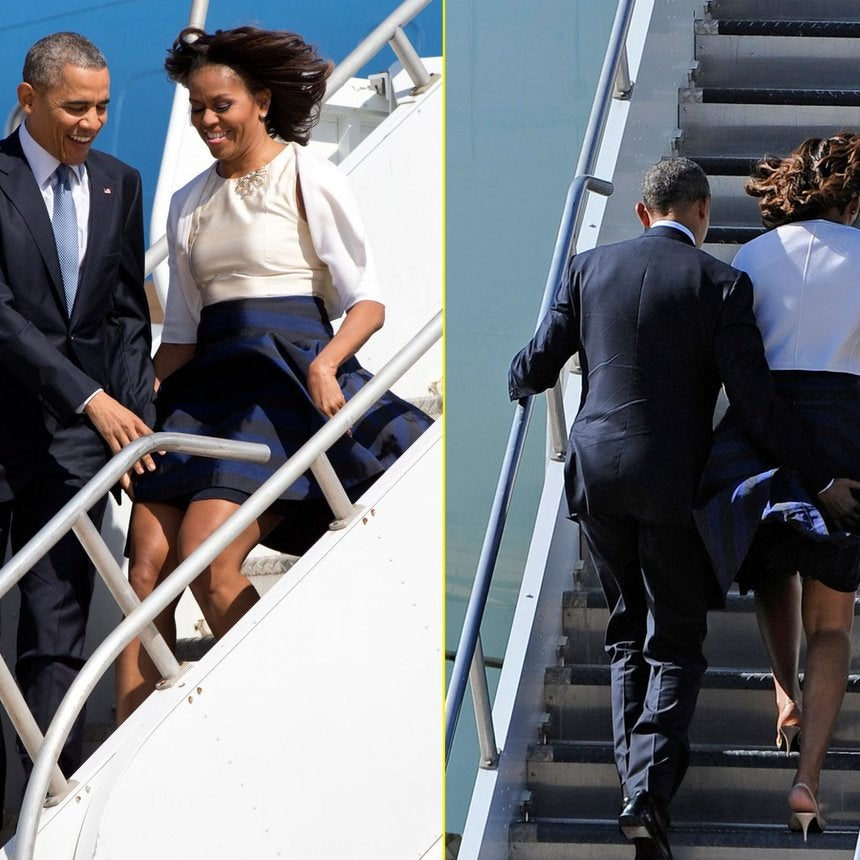 What a Gentleman! President Obama Saves First Lady from Windy Wardrobe Malfunction
