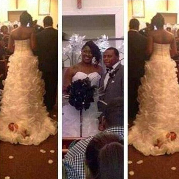 Bride Ties Newborn to Wedding Dress, Drags Her Down the Aisle