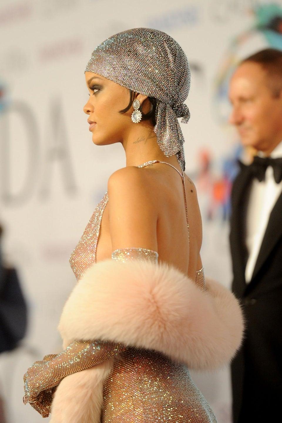 Rihanna Wears Crystal Headscarf to CFDA Awards