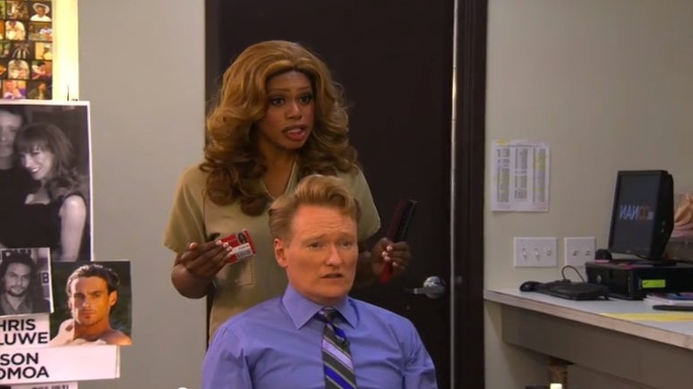 Must-See: Laverne Cox Styles Conan O'Brien's Hair, Offers Advice