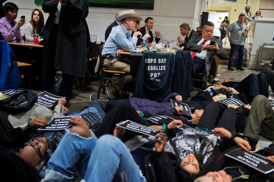 Demonstrators Stage 'Black Lives Matter' Protest in Capitol Hill Cafeteria
