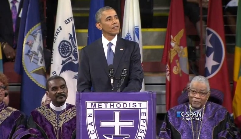 Obama Leads Congregation in 'Amazing Grace' Following Powerful Eulogy for Rev. Pinckney