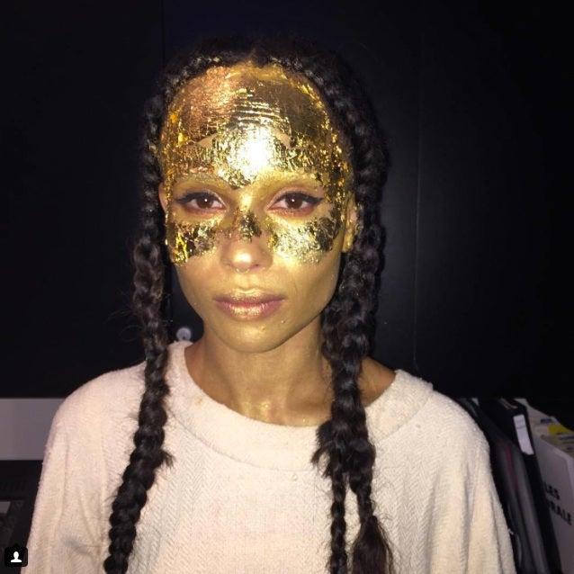 Zoe Kravitz Wears Gold Face Makeup for Kanye's Show