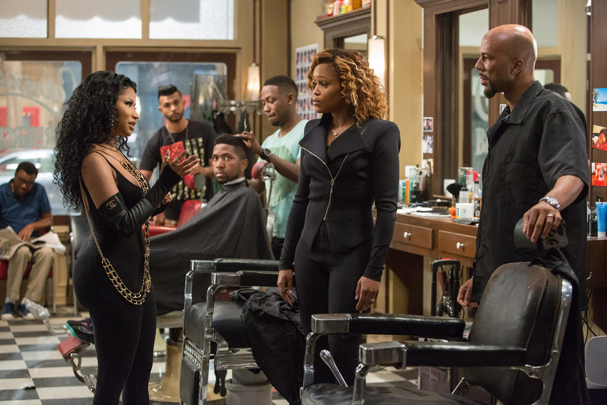EXCLUSIVE: First Photo of Nicki Minaj, Eve and Common in 'Barbershop: The Next Cut'