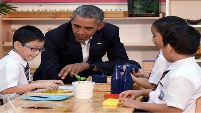 President Obama Visits With Refugees In The Midst Of Political Debate