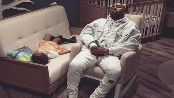This Photo Of Kanye West and Daughter North Napping Will Make Your Monday