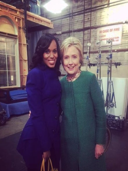 Hillary Clinton Visited the 'Scandal' Set and Totally Hung Out with Kerry Washington