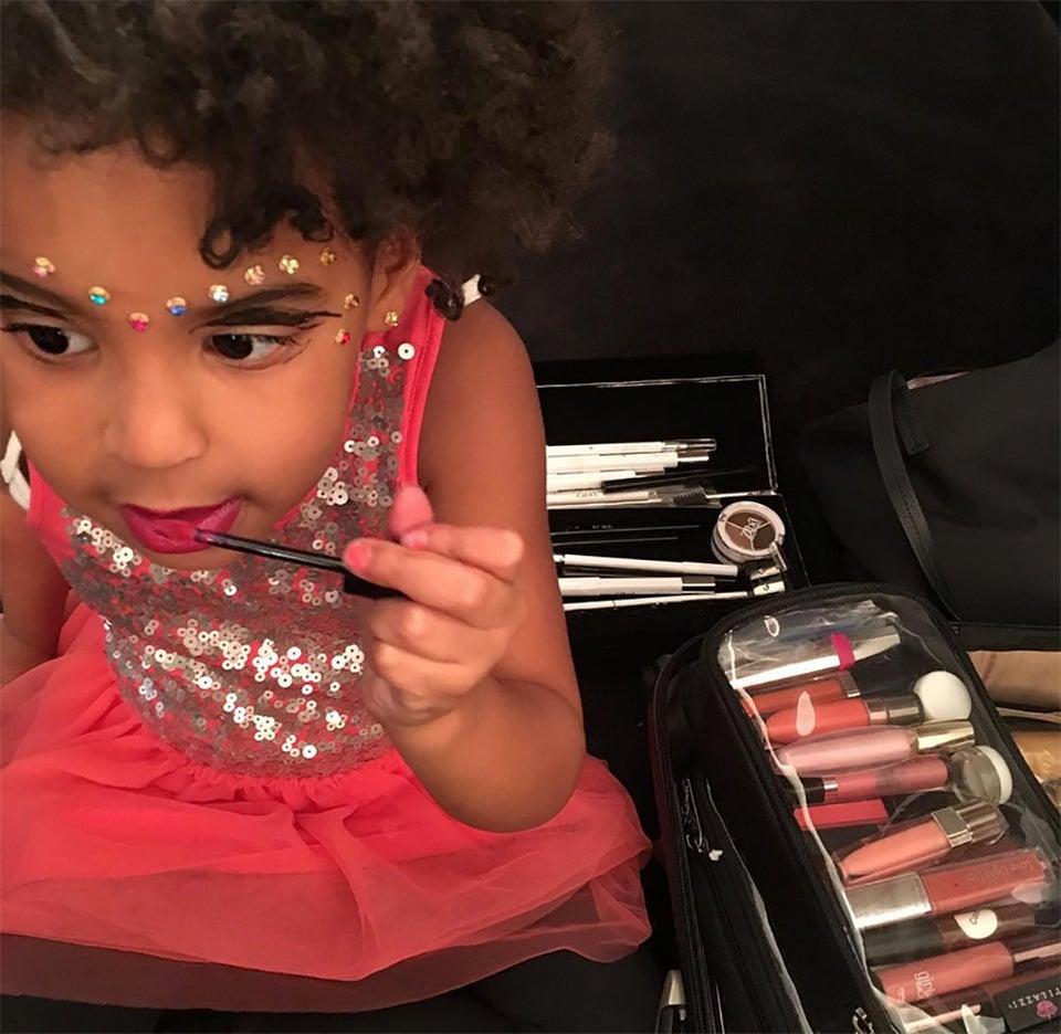 Blue Ivy Found Her Way into Beyoncé's Makeup Kit