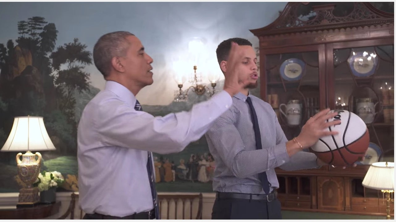 Watch President Obama Coach Stephen Curry