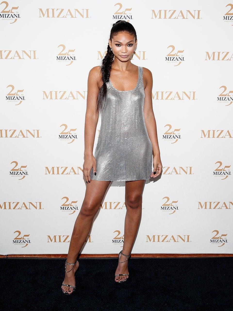 Chanel Iman Stuns in Fierce Slinky Metallic Dress
