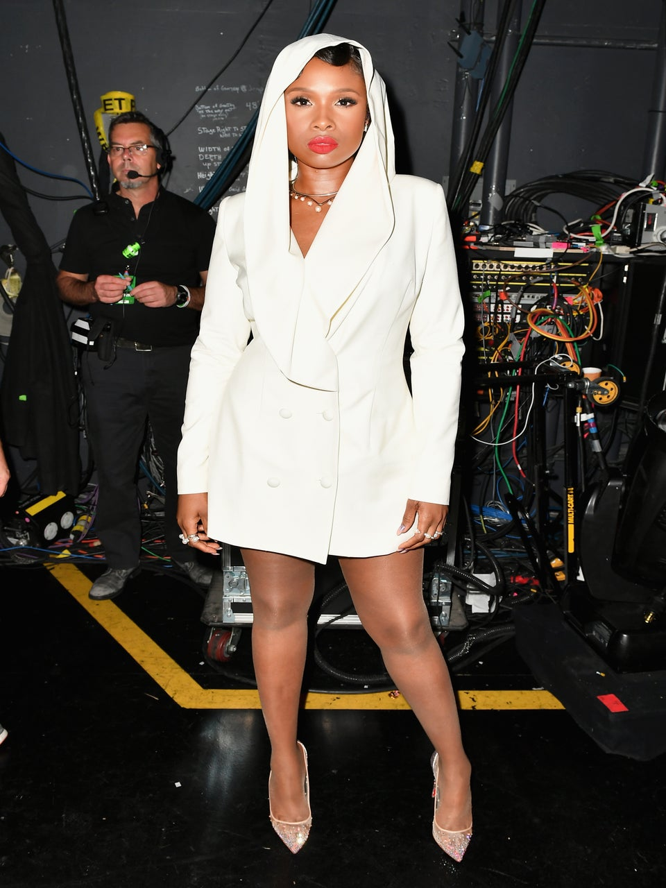 Jennifer Hudson Perfectly Copies Prince's Style at 2016 BET Awards in White Hooded Dress