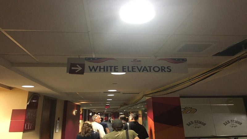 'White Elevator' Sign Sparks Controversy at Republican National Convention Arena