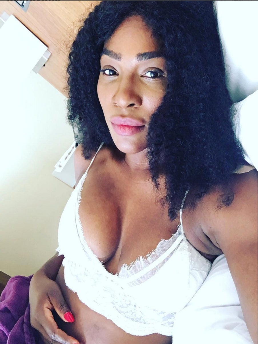 Serena Williams Posts Rare Lingerie-Clad Photo from Bed
