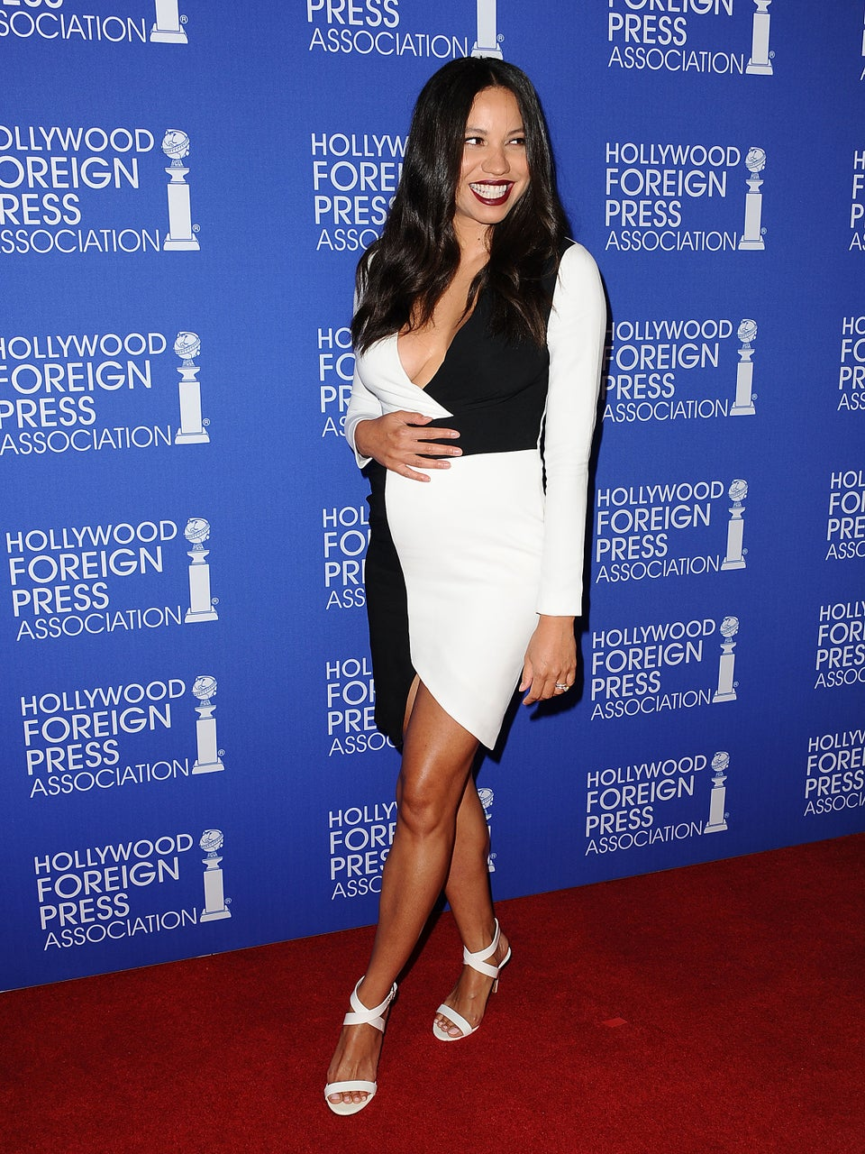 Look of the Day: Jurnee Smollett Shows Off Baby Bump in Chic Black and White Frock