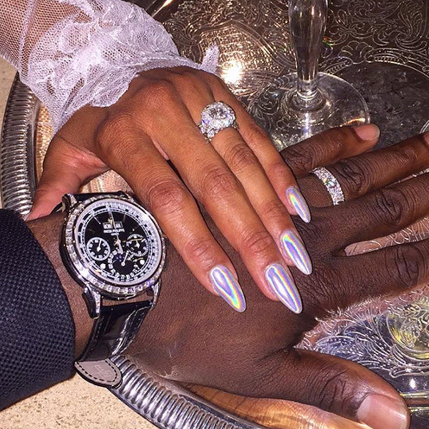 Eniko Parrish's Silvery Stiletto Wedding Nails Are Blinding In the Best Possible Way