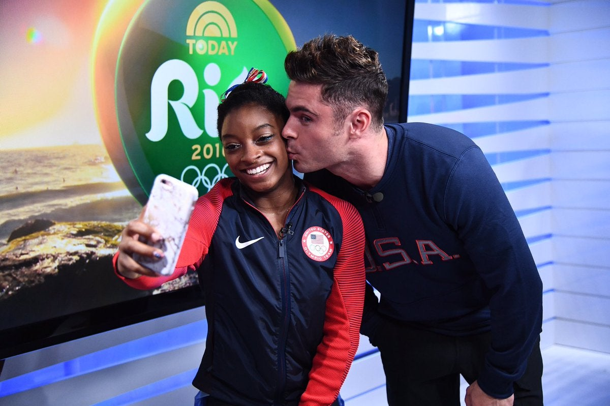 Simone Biles Gets a Kiss From Her Biggest Crush, Zac Efron