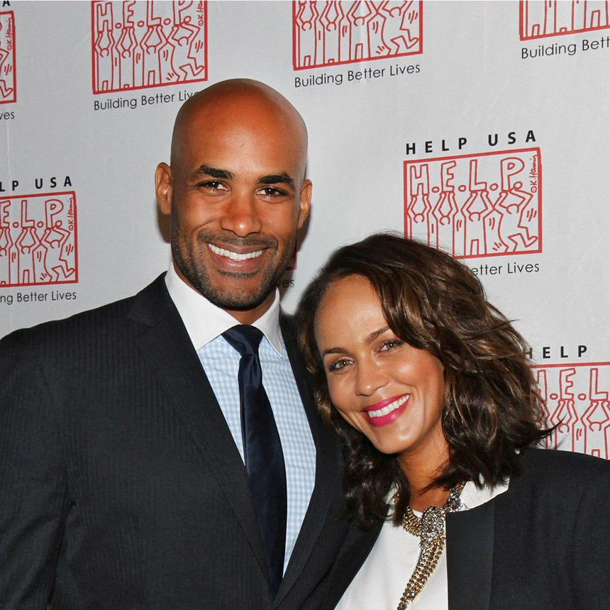 Boris Kodjoe Supports Nicole Ari Parker's Gym Wrap During Beauty Expo
