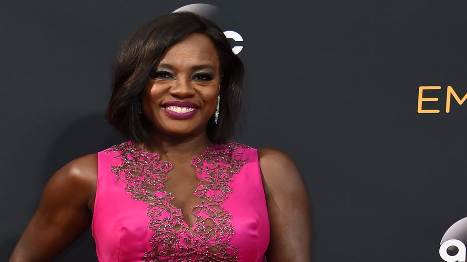 Viola Davis Is Pretty In Pink On The Emmys Red Carpet