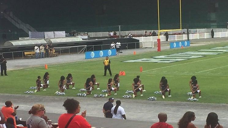 Powerful Photo Of Howard University Cheerleaders Kneeling During National Anthem Goes Viral