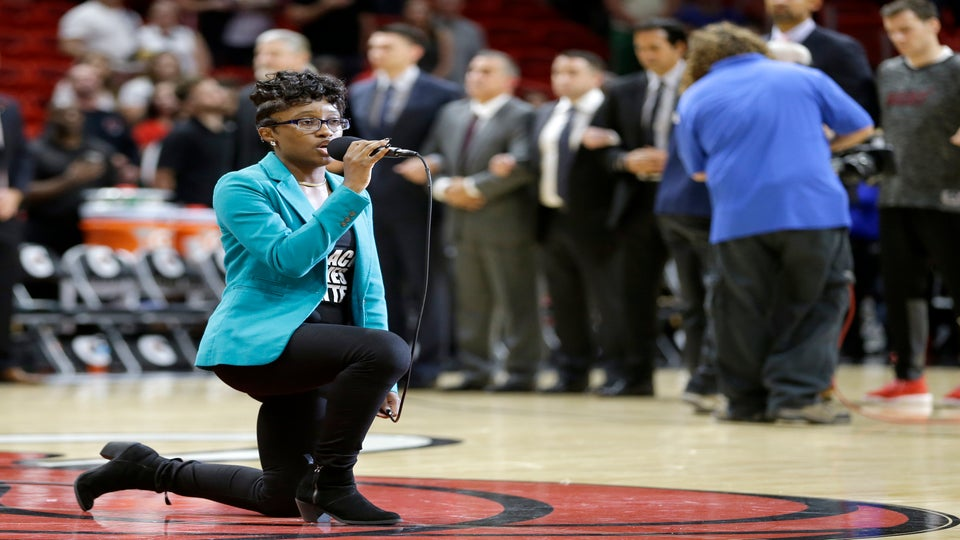 Singer Kneels in Protest While Performing National Anthem at Miami Heat Game