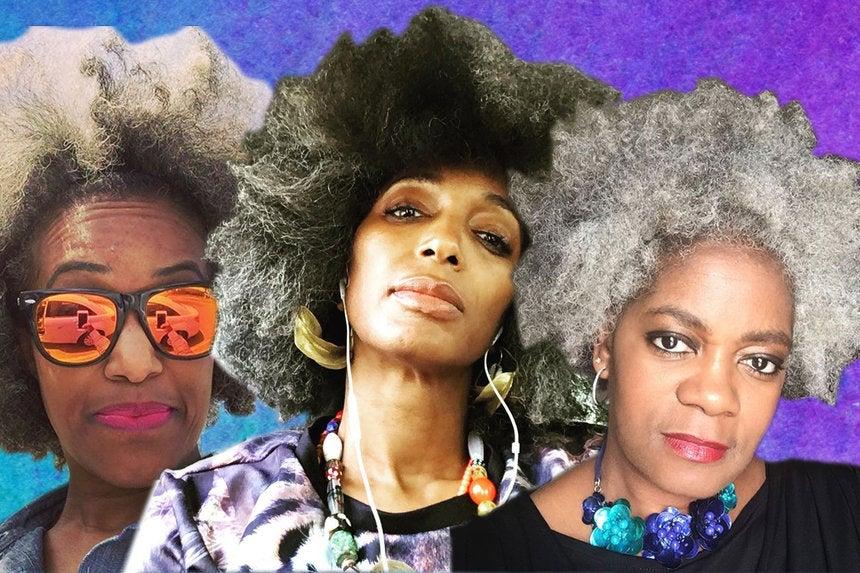 Beautiful Black Woman With Gray Hair