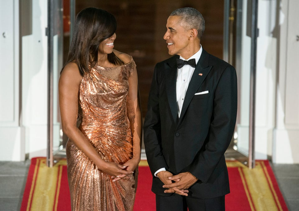 Michelle Obama Stuns In Chainmail Versace Gown For Her Final State Dinner