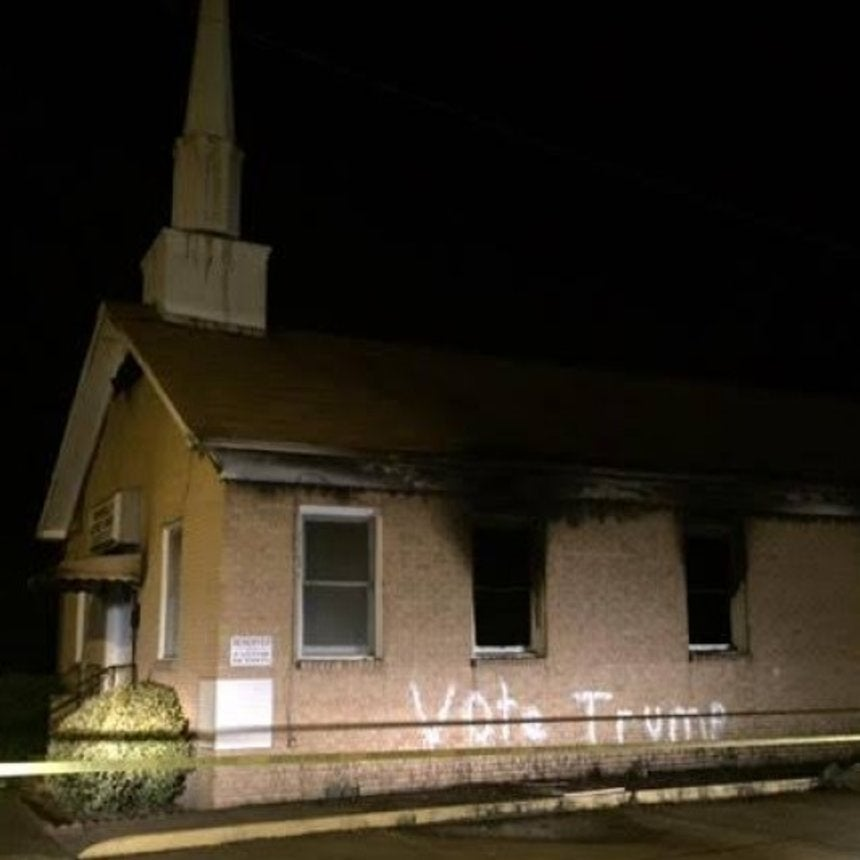 Burning Of Black Mississippi Church With 'Vote Trump' Message Investigated As Hate Crime