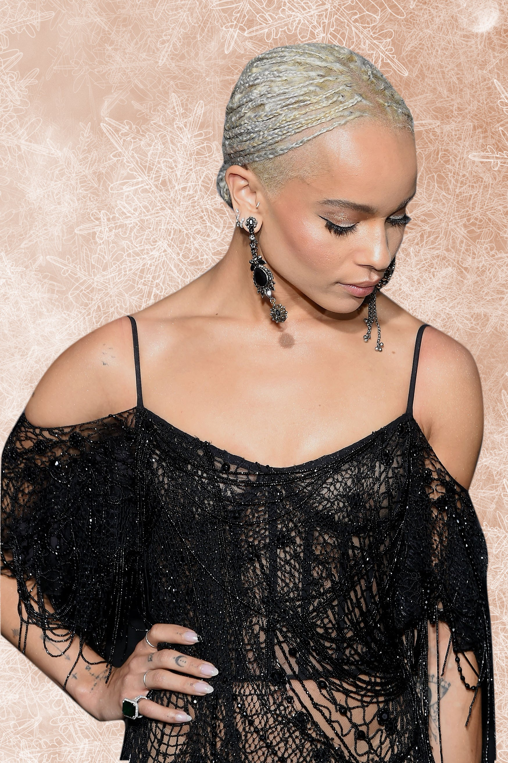 Look of the Day: Zoe Kravitz Looks Like An Ethereal Ice Queen In Sheer Beaded Gown