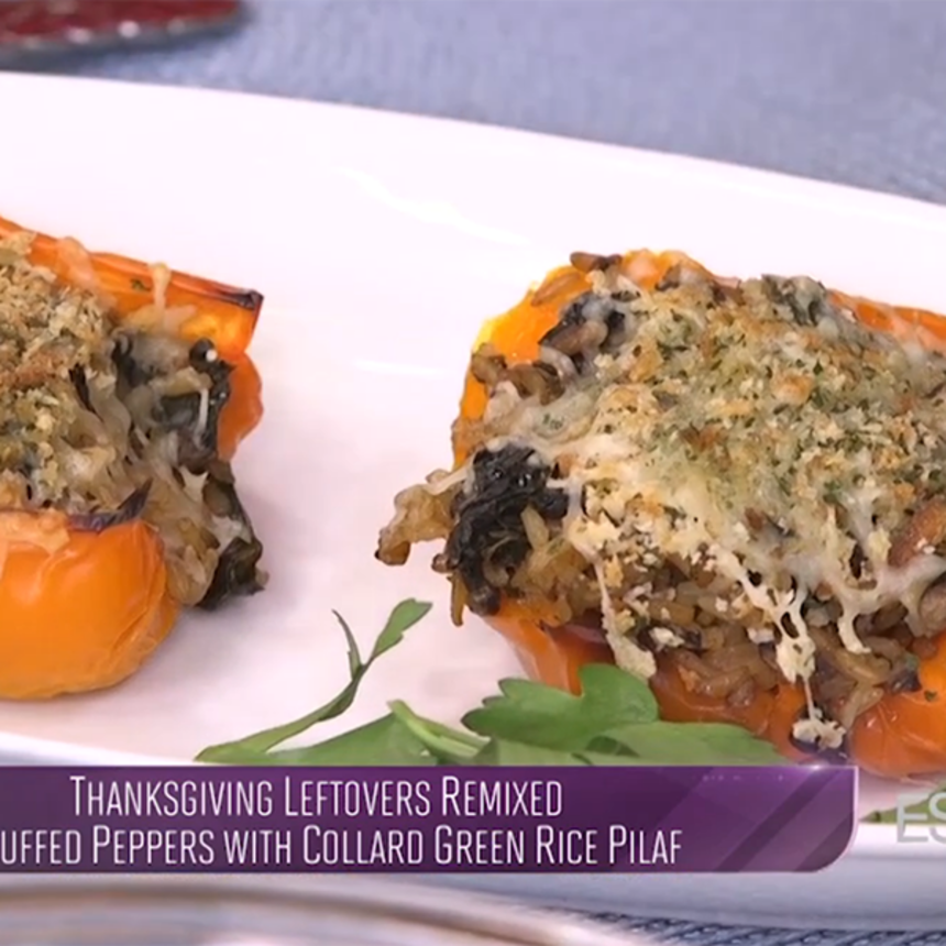 Thanksgiving Leftovers Remixed: Stuffed Peppers with Collard Green Rice Pilaf
