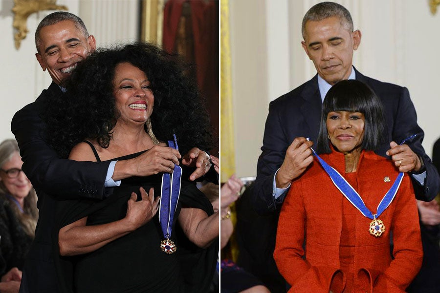 President Obama Was Completely In Awe Of Diana Ross And Cicely Tyson During Medal Of Freedom Ceremony