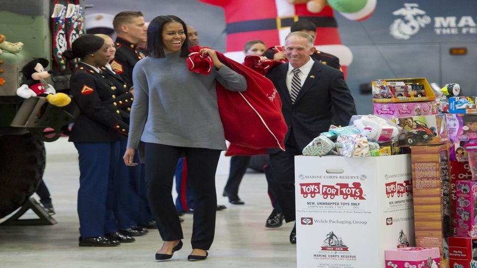 Michelle Obama Makes One Stylish Santa in Cozy Winter Look