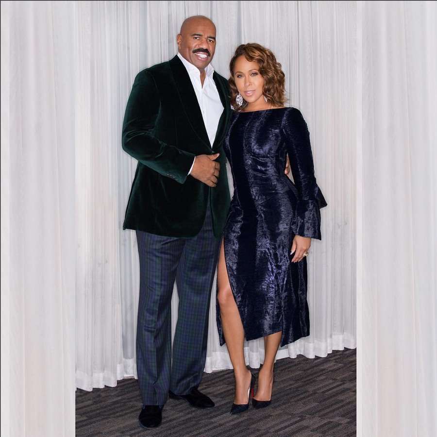 Look of the Day: Marjorie and Steve Harvey Deliver Major Holiday Party Style Inspiration