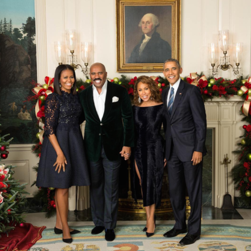 Steve &Marjorie Harvey's HolidayPic With The Obamas Will Make You Swoon