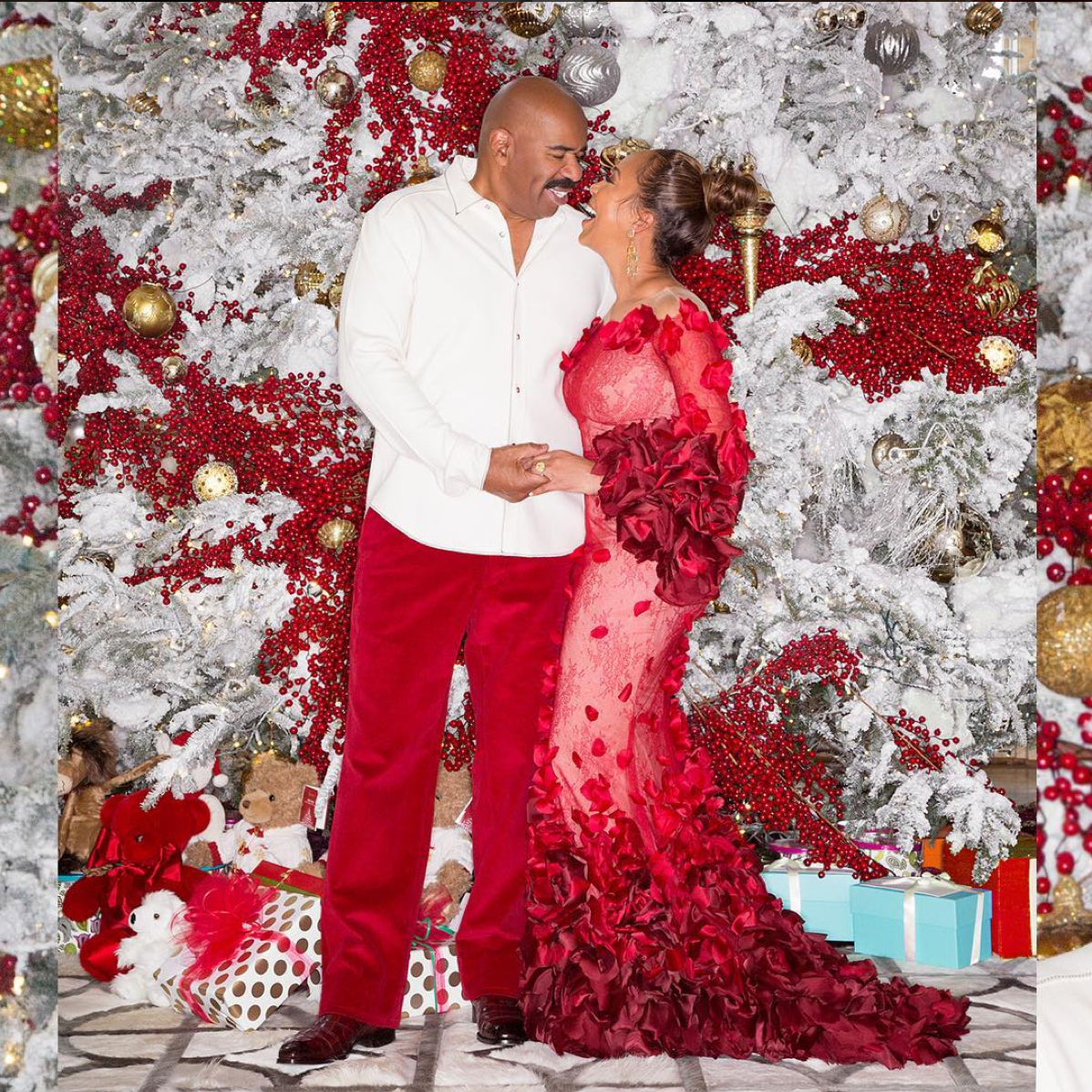 Steve Harvey Christmas Tree.Steve And Marjorie Harvey S Glamorous Holiday Photos Essence