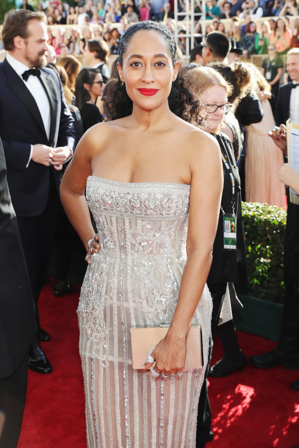 Tracee Ellis Ross Shines In A Silver Gown And Fists Full Of Diamonds At The Golden Globes
