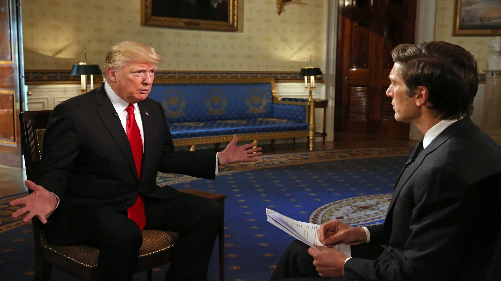 Trump Repeats Unproven Claims And Attacks Critics In His First Extended Interview As President