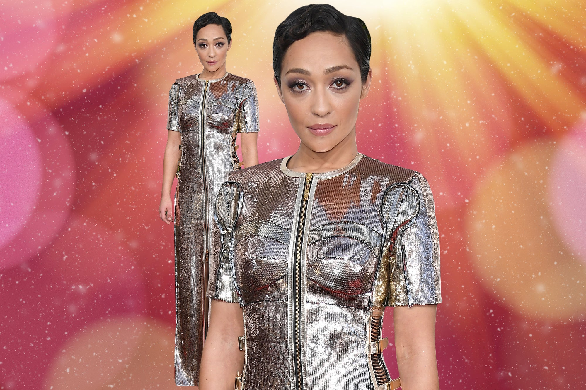Ruth Negga Looks Like She Was Dipped In Rose Gold On The Golden Globes Red Carpet