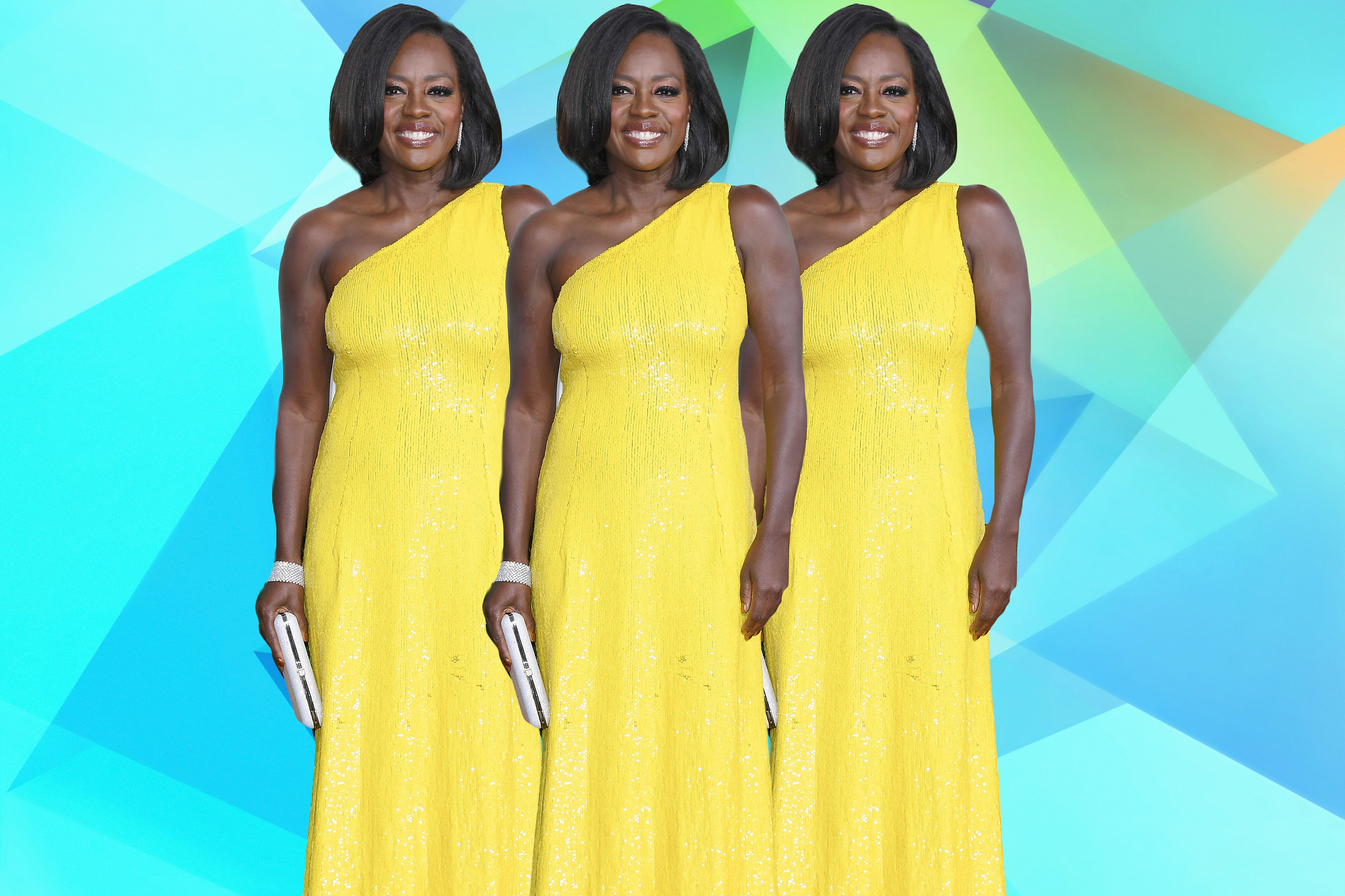 Viola Davis Stuns In A Yellow Sequin Gown At The Golden Globes