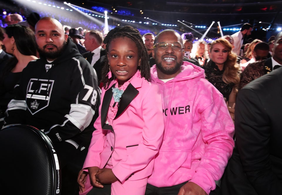 Rapper Schoolboy Q Hits Grammys Red Carpet in 'Girl Power' Sweatshirt With Daughter In Matching Pink Suit