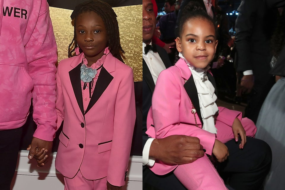 Blue Ivy Carter and Schoolboy Q's DaughterRock Matching Gucci Suits At Grammy Awards