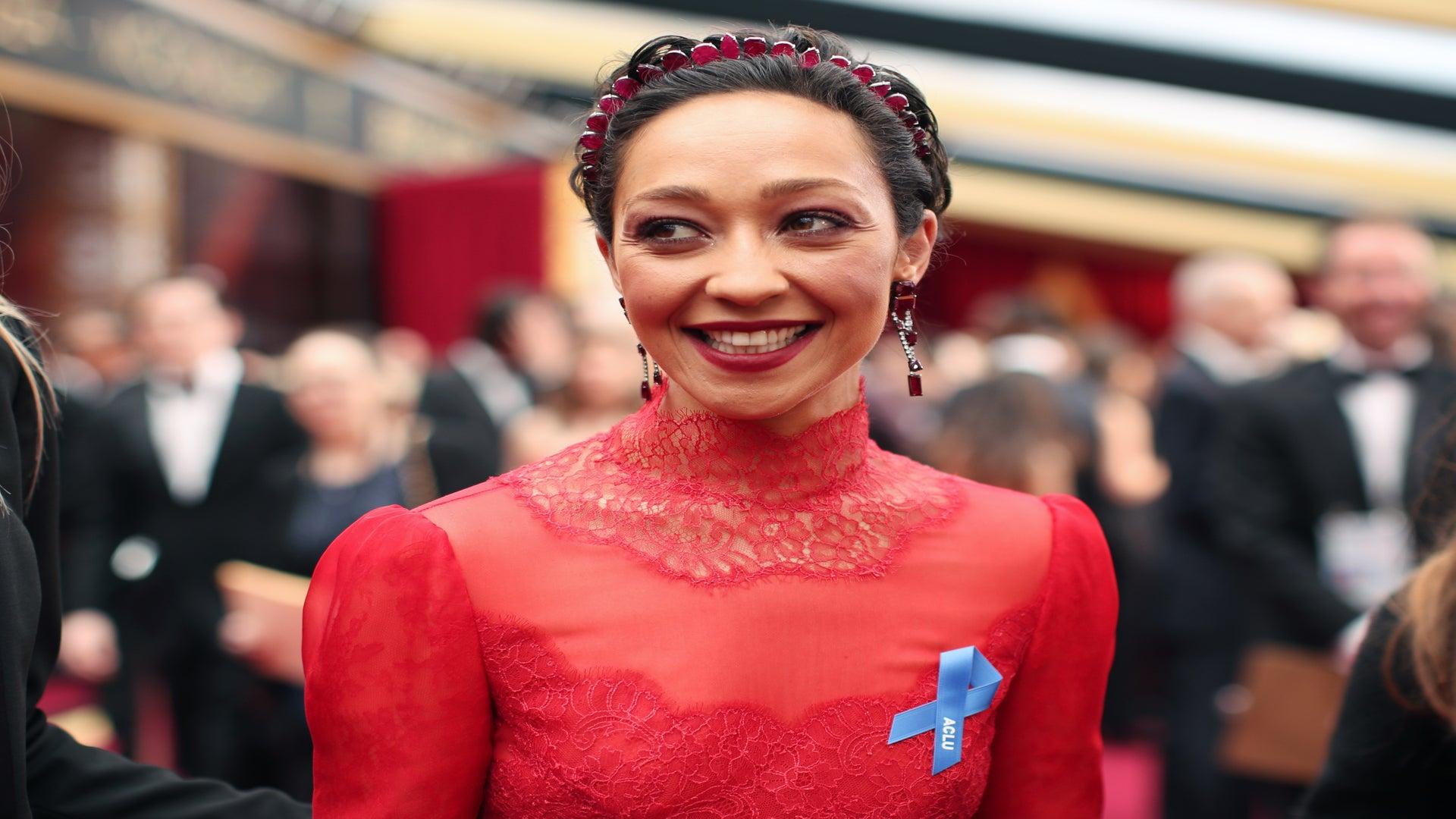 Ruth Negga Lights Up 2017 Oscars Red Carpet in Valentino